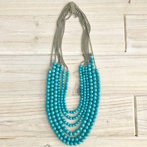 LOFT Turquoise Multi Layered Statement Necklace